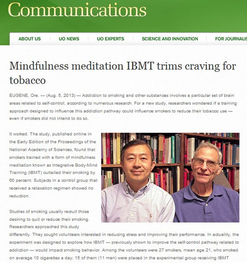 Mindfulness meditation IBMT® trims craving for tobacco